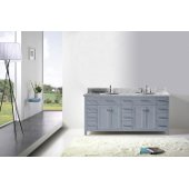 Caroline Parkway 72'' Double Bathroom Vanity Set in Grey, Italian Carrara White Marble Top with Round Sinks