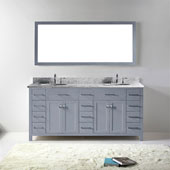 Caroline Parkway 72'' Double Bathroom Vanity Set in Grey, Italian Carrara White Marble Top with Round Sinks, Mirror Included