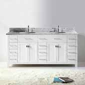 Caroline Parkway 72'' Double Bathroom Vanity Set in White, Italian Carrara White Marble Top with Round Sinks