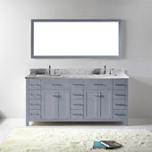 Caroline Parkway 72'' Double Bathroom Vanity Set in Grey, Italian Carrara White Marble Top with Square Sinks, Mirror Included