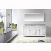 Caroline Parkway 72'' Double Bathroom Vanity Set in White, Italian Carrara White Marble Top with Square Sinks, Available with Optional Faucets, Mirror Included