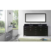 Caroline Parkway 78'' Double Bathroom Vanity Set in Espresso, Black Galaxy Granite Top with Round Sinks, Brushed Nickel Faucets, Mirror Included