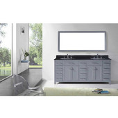 Caroline Parkway 78'' Double Bathroom Vanity Set in Grey, Black Galaxy Granite Top with Round Sinks, Polished Chrome Faucets, Mirror Included