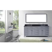 Caroline Parkway 78'' Double Bathroom Vanity Set in Grey, Black Galaxy Granite Top with Round Sinks, Mirror Included
