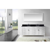 Caroline Parkway 78'' Double Bathroom Vanity Set in White, Black Galaxy Granite Top with Round Sinks, Brushed Nickel Faucets, Mirror Included