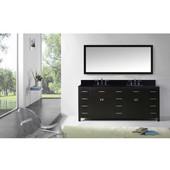 Caroline Parkway 78'' Double Bathroom Vanity Set in Espresso, Black Galaxy Granite Top with Square Sinks, Mirror Included