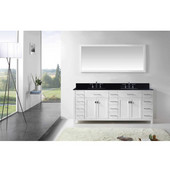 Caroline Parkway 78'' Double Bathroom Vanity Set in White, Black Galaxy Granite Top with Square Sinks, Mirror Included