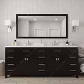 Caroline Parkway 78'' Double Bathroom Vanity Set in Espresso, Dazzle White Quartz Top with Round Sinks, Polished Chrome Faucets, Mirror Included