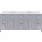 Caroline Parkway 78'' Double Bathroom Vanity Set in Grey, Dazzle White Quartz Top with Round Sinks