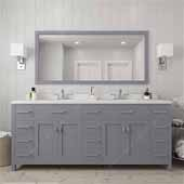 Caroline Parkway 78'' Double Bathroom Vanity Set in Grey, Dazzle White Quartz Top with Round Sinks, Polished Chrome Faucets, Mirror Included