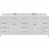 Caroline Parkway 78'' Double Bathroom Vanity Set in White, Dazzle White Quartz Top with Round Sinks