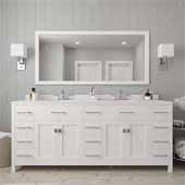 Caroline Parkway 78'' Double Bathroom Vanity Set in White, Dazzle White Quartz Top with Square Sinks, Mirror Included