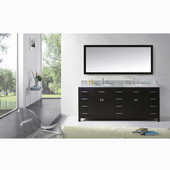 Caroline Parkway 78'' Double Bathroom Vanity Set in Espresso, Italian Carrara White Marble Top with Round Sinks, Available with Optional Faucets, Mirror Included