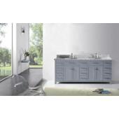 Caroline Parkway 78'' Double Bathroom Vanity Set in Grey, Italian Carrara White Marble Top with Round Sinks