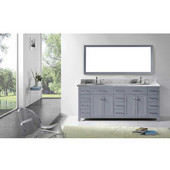 Caroline Parkway 78'' Double Bathroom Vanity Set in Grey, Italian Carrara White Marble Top with Round Sinks, Polished Chrome Faucets, Mirror Included