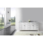 Caroline Parkway 78'' Double Bathroom Vanity Set in White, Italian Carrara White Marble Top with Round Sinks
