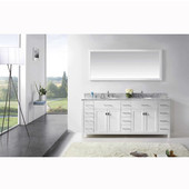 Caroline Parkway 78'' Double Bathroom Vanity Set in White, Italian Carrara White Marble Top with Round Sinks, Available with Optional Faucets, Mirror Included