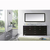 Caroline Parkway 78'' Double Bathroom Vanity Set in Espresso, Italian Carrara White Marble Top with Square Sinks, Available with Optional Faucets, Mirror Included