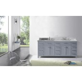 Caroline Parkway 78'' Double Bathroom Vanity Set in Grey, Italian Carrara White Marble Top with Square Sinks