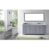 Caroline Parkway 78'' Double Bathroom Vanity Set in Grey, Italian Carrara White Marble Top with Square Sinks, Mirror Included