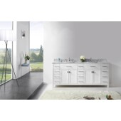 Caroline Parkway 78'' Double Bathroom Vanity Set in White, Italian Carrara White Marble Top with Square Sinks