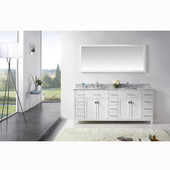 Caroline Parkway 78'' Double Bathroom Vanity Set in White, Italian Carrara White Marble Top with Square Sinks, Available with Optional Faucets, Mirror Included