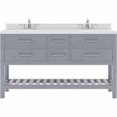 Caroline Estate 60'' Double Bathroom Vanity Set in Grey, Dazzle White Quartz Top with Round Sinks