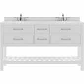 Caroline Estate 60'' Double Bathroom Vanity Set in White, Dazzle White Quartz Top with Square Sinks