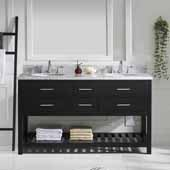 Caroline Estate 60'' Double Bathroom Vanity Set in Espresso, Italian Carrara White Marble Top with Round Sinks