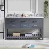 Caroline Estate 60'' Double Bathroom Vanity Set in Grey, Italian Carrara White Marble Top with Round Sinks