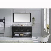 Caroline Estate 60'' Double Bathroom Vanity Set in Espresso, Italian Carrara White Marble Top with Square Sinks, Single Available with Optional Faucets, Mirror Included