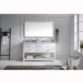 Caroline Estate 60'' Double Bathroom Vanity Set in White, Italian Carrara White Marble Top with Round Sinks, Single Available with Optional Faucets, Mirror Included