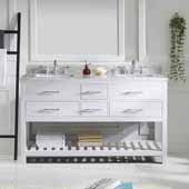 Caroline Estate 60'' Double Bathroom Vanity Set in White, Italian Carrara White Marble Top with Round Sinks