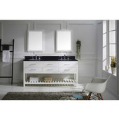 Caroline Estate 72'' Double Bathroom Vanity Set in White, Black Galaxy Granite Top with Round Sinks, Double Mirrors Included