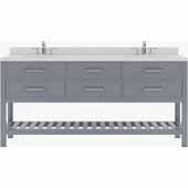 Caroline Estate 72'' Double Bathroom Vanity Set in Grey, Dazzle White Quartz Top with Round Sinks