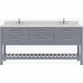 Caroline Estate 72'' Double Bathroom Vanity Set in Grey, Dazzle White Quartz Top with Square Sinks