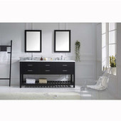 Caroline Estate 72'' Double Bathroom Vanity Set in Espresso, Italian Carrara White Marble Top with Square Sinks, Available with Optional Faucets, Double Mirrors Included