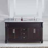 Victoria 60'' Double Bathroom Vanity Set in Espresso, Italian Carrara White Marble Top with Round Sinks