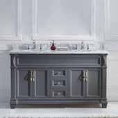 Victoria 60'' Double Bathroom Vanity Set in Grey, Italian Carrara White Marble Top with Round Sinks