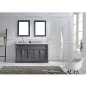 Victoria 60'' Double Bathroom Vanity Set in Grey, Italian Carrara White Marble Top with Round Sinks, (2) Mirrors Included
