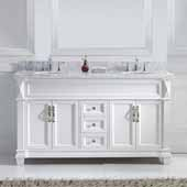 Victoria 60'' Double Bathroom Vanity Set in White, Italian Carrara White Marble Top with Round Sinks