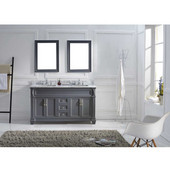 Victoria 60'' Double Bathroom Vanity Set in Grey, Italian Carrara White Marble Top with Square Sinks, Polished Chrome Faucets, (2) Mirrors Included