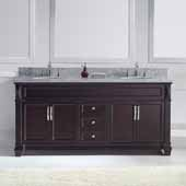 Victoria 72'' Double Bathroom Vanity Set in Espresso, Italian Carrara White Marble Top with Round Sinks