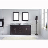 Victoria 72'' Double Bathroom Vanity Set in Espresso, Italian Carrara White Marble Top with Round Sinks, (2) Mirrors Included