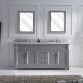 Victoria 72'' Double Bathroom Vanity Set in Grey, Italian Carrara White Marble Top with Round Sinks, Brushed Nickel Faucets, (2) Mirrors Included