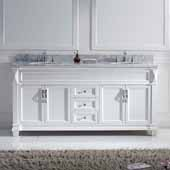 Victoria 72'' Double Bathroom Vanity Set in White, Italian Carrara White Marble Top with Round Sinks