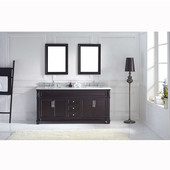 Victoria 72'' Double Bathroom Vanity Set in Espresso, Italian Carrara White Marble Top with Square Sinks, Brushed Nickel Faucets, (2) Mirrors Included
