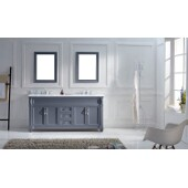 Victoria 72'' Double Bathroom Vanity Set in Grey, Italian Carrara White Marble Top with Square Sinks, (2) Mirrors Included