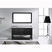 Julianna 60'' Double Bathroom Vanity Set in Espresso, Italian Carrara White Marble Top with Round Sinks, Available with Optional Faucets, Mirror Included