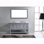 Julianna 60'' Double Bathroom Vanity Set in Grey, Italian Carrara White Marble Top with Round Sinks, Available with Optional Faucets, Mirror Included